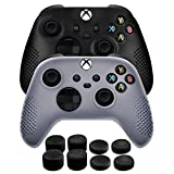 TNP Controller Cover Skin Case + 8 Thumb Grips Set (Blake+White) Compatible with Xbox Series S / X Gamepad - Soft Studded Anti-slip Silicone Gel & Rubber Stick Caps Accessories for Video Games
