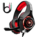 Gaming Headset für PS4 PS5 PC Xbox One, LED Licht Crystal Clarity Sound Professional Kopfhörer mit Mikrofon für Laptop Mac Tablet Nintendo Switch