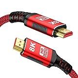 8K HDMI 2.1 Kabel 2M, Snowkids 8K@60HZ & 4K@120HZ 7680P 2.1 HDMI Rutschfestes Kabel Aktualisierte Version mit eARC 48Gbps Dynamisches HDR HDCP 2.3 kompatibles HDTV, PS3/PS4,PC,Projektor