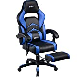 Umi Gaming Stuhl Bürostuhl Schreibtischstuhl mit Armlehne Drehstuhl Höhenverstellbarer Gaming Sessel PC Stuhl Ergonomisches Chefsessel mit Fußstützen Blau