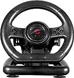 Speedlink BLACK BOLT Racing Wheel - USB-Gaming-Lenkrad für PC/Computer - Pedale für Gas und Bremse, Schaltwippen - Vibration - 180° Lenkbereich - schwarz