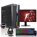 dcl24.de [11749] Gaming Komplett PC Set Bolt RGB AMD Ryzen 3-3200G 4x3.6 GHz - 240GB SSD & 1TB HDD, 16GB DDR4, Vega 8, mit 24 Zoll TFT, Maus, Tastatur, Headset, WLAN, Windows 10 Pro