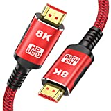 8K HDMI 2.1 Kabel 2Meter für PS5- Snowkids 8K@60HZ & 4K@120HZ 7680P 2.1 HDMI Rutschfestes Kabel Aktualisierte Version mit eARC 48Gbps Dynamisches HDR HDCP 2.3 kompatibles HDTV, PS4,PC
