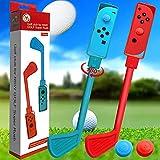 Golfschläger für Switch Mario Golf, 2 Stück Drehbare Golfgriffe Kompatibel mit Switch Joy-Con Controller, Spiele Club Zubehör für Nintendo Switch Mario Golf Super Rush (Rot+Blau)