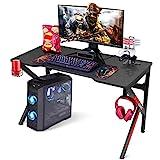 SIMBR Gaming Tische, 120 cm, K-Frame-Design, Großer Workst-Gaming-Tisch für Gaming-Laptop, Büro-PC, Gamer-Schreibtisch mit Controller-Ständer, Becherhalter, Kopfhörer-Haken