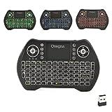 Ovegna MT10: Mini-Tastatur mit Hintergrundbeleuchtung, QWERTZ (Deutsch), kabellos, mit Touchpad, für Smart TV, Mini PC, HTPC, Konsole, Computer, Raspberry 2/3, Android TV