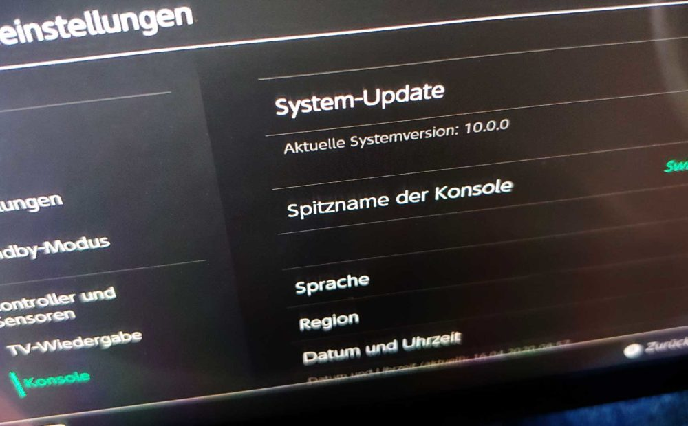 nintendo switch firmware update version 10 0 0