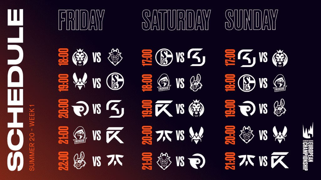 LEC Schedule Week 1 1