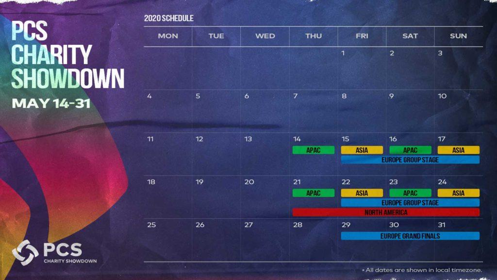 PCS Charity Showdown Schedule babt