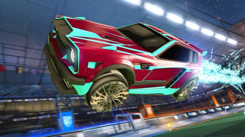 Hardline Decal (Fennec), Cutter Wheels, Quasar Boost. Quelle: Psyonix