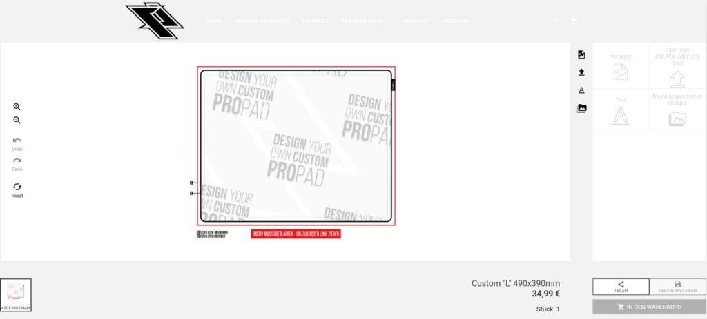Bei der Online-Gestaltung des Mauspads können wir beliebige Bilder, Assets und Schriften Hochladen.