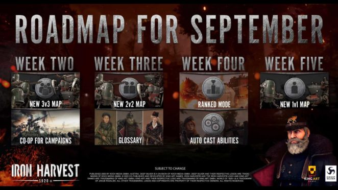 Iron Harvest Roadmap September babt