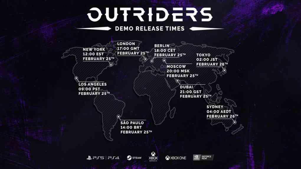 Outriders Demo Release Zeitzonen