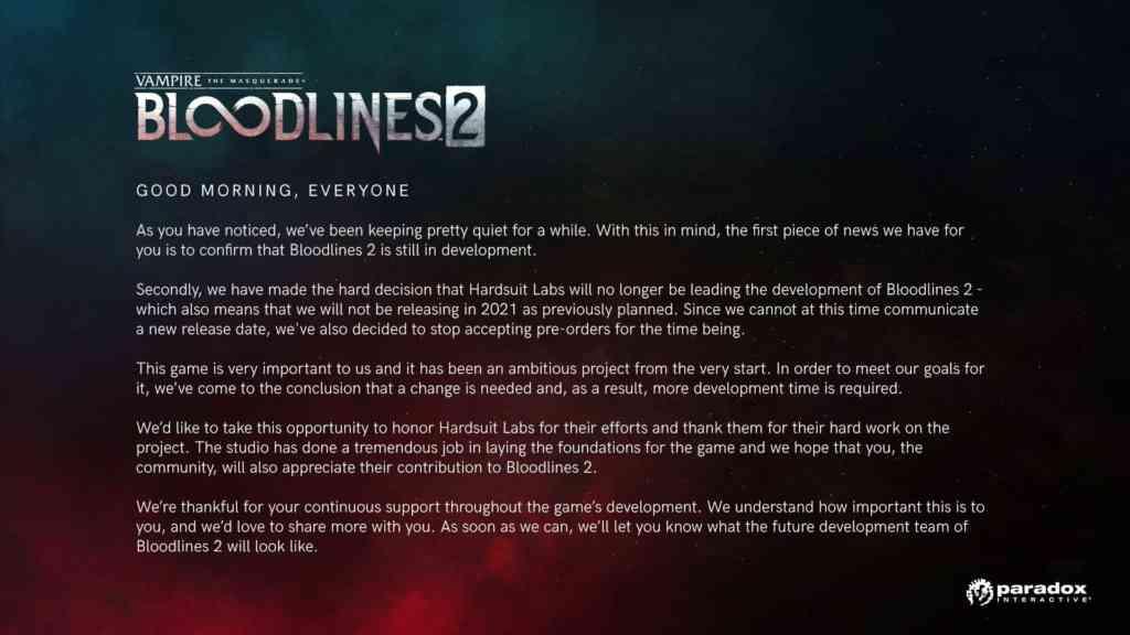 Vampire the Masquerade – Bloodlines 2 wird auf unbestimmte Zeit verschoben.