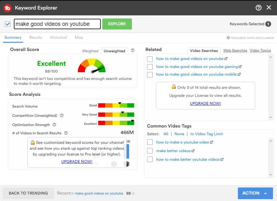 Der Keyword Explorer dient zur Optimierung der Suchergebnisse.