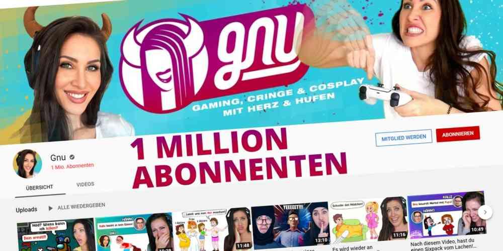 saftiges gnu 1 million abonnenten